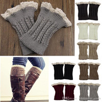 Wholesale lace boot toppers - Womens Leg Warmers Cycling Leg Warmers Fashion Womens Crochet Knit Lace Trim Leg Warmers Cuffs Toppers Boot Socks Leggings