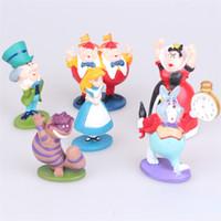 alice harikalar diyarı anime toptan satış-Mini Anime Rakamlar Alice in Wonderland PVC Kek Toppers Şekil Oyuncaklar set başına 6 stilleri kız hediyeler
