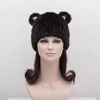 Wholesale Ear Hats For Women - Crystal bear ears mink fur hat for women solid color women mink fur hat caps 2017 new mink fur hat warm winter caps female