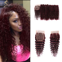 Wholesale Deep Wave Perm - Burgundy Lace Closure Deep Wave Brazilian Human Hair Wine Red Raw Deep Curly Ocean Wave 99j Hair Extension Weave Wavy Bundles With Closure