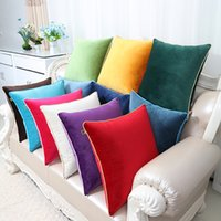 Wholesale Fabric Sofas Sets - Multi Size Plain Velvet Fabric Pillow Cushion Cover Home Office Sofa Chairs Lumbar Back Cushion Set Europe style Decor Pillow Cases