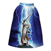 Wholesale Dress Big Bust - Hotsale ladies full skirt dresses quality expansion skirts 3d print cute little sword cat bust skirt womens big size high weight skirts