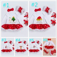 Wholesale Shoe Tights - New Baby Girls Christmas Halloween Outfit Kids Girls 4 Pieces set Rompers + Shoes + Tights + bow Headband New Baby kids Clothing sets A7713