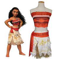 Wholesale Girls Boobs - Moana Cosplay Costume clothing sets Moive Girls Princess Boob tube top+hula Skirt + belt 3pcs  set FEDEX DHL shipping