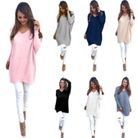 Wholesale Womens Baggy Sweaters - Free Shipping 7 Colors Plus Size Womens Ladies V-Neck Chunky Knitted Oversized Baggy Sweater Jumper Tops Outwear CL184