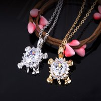 Wholesale Tortoise Charm Gold - New Cute Animal Pendant Silver Gold Plated zircon Crystal Charm Tortoise Pendant For Women Lucky Jewelry free shipping