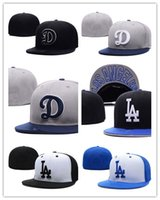 Wholesale Two Tone Women Hats - New Arrival Cheap hot sport team fitted caps flat brim two tone full closed design Los Angeles Dodgers camo black baseball men women hats