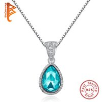 Wholesale Tear Crystal Water Drop Necklace - BELAWANG Women Sterling Silver Tear Shape Sky Blue Crystal Pendant Necklace Water Drop CZ Necklace with Box Chain 925 Jewelry Free Shipping