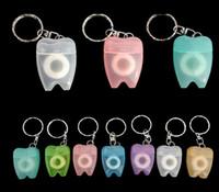 Wholesale Dental Chain - customized logo Dental Floss for Teeth Cleanning Oral Care Kit Dental Hygiene Portable Teeth Key Chain Random Color