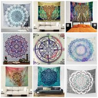 Wholesale wall stickers yoga - Bohemian Mandala Round Beach Towel 150*130cm Tapestry Yoga Mat Classical Carpets Polyester Tapestries Bath Towels Fashion Wall Stickers 19ca