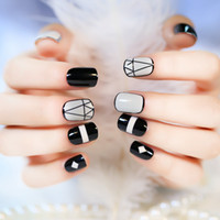 Wholesale Nail Sticker Black White - 2017 New Arrival Short Full False Nails 24pcs with Geometric Patterns Black and White with 1Pcs Glue sticker