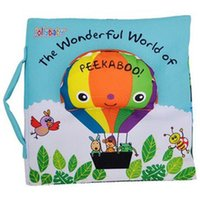 Wholesale Peekaboo Babies - Wholesale- Soft Cloth Book Children Kid Educational Toys Fabric Balloon Peekaboo Animals English Teach Stereo Quiet Book For Newborn Babies
