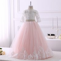 Wholesale Wedding Flowers Pics - Hot Sale Real Pics Lace Flower Girl Dresses For Wedding Pearls Waist Floor Length With Sleeves Kids First Communion Gown