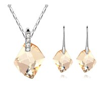 Wholesale Earrings Wishing - Wish Stone Fashion Necklace Earrings For Women Jewelry Sets Real Crystal From Swarovski Wedding Party Gift Accessories