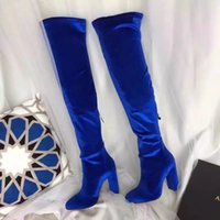 Wholesale Wine Red Boots - Fashion Cat walk Counter quality Velent black+blue+wine round toe 10CM over-the-knee long boots