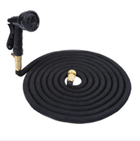 Wholesale Car Washing Pipe - 50FT Expandable Garden Watering Hose Flexible Pipe With Spray Nozzle Metal Connector Washing Car Pet Bath Hoses OOA1960