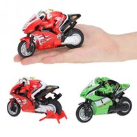 Atacado- Crie Brinquedos 8012 1/20 2.4 GHz Radio Controlado mini RC Motorcycle Super Cool Toy Stunt Car For Children Gift