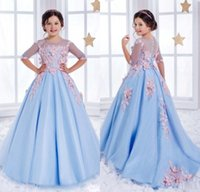 Wholesale Christmas Ball Opens - Sweet Tulle Pageant Ball Gown Half Sleeves Light Blue Open Back Gorgeous Scoop Chapel Train Flower Girl Dresses For Weddings