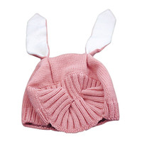 Wholesale Red Childrens Winter Hat - Childrens Babys Cap Rabbit ears Hats Grils and Boys Kids 2016 New Autumn Winter Ballins Warm Cotton Hats ER-124