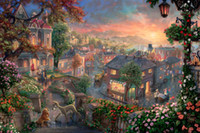 Wholesale Lady Abstract Oil Painting - 009 lady and the tramp Thomas Kinkade Oil Painting,HD Art Print Original Canvas Wall Deco,Multi size,Free Shipping,framed