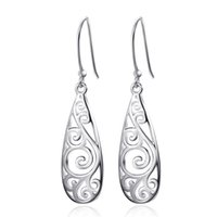 Wholesale Hollow Carved Earring - Women Simple Jewelry Bohemia Fashion 925 Silver Filled Hollow Carved Water Drop Earrings