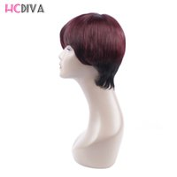 Wholesale 1b Burgundy Color Wigs - HCDIVA Products Brazilian Hair Natural Wave Hair 1b 99j Burgundy Natura Color 100% Short Human Hair Bob Wigs For Black Women