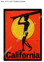 "Wholesale California Clothing - ""California"" Surfboard Beach Bum Wave Rider Ocean Surf Travel Souvenir Patches Outdoor Clothing Iron On Badge for bag diy"