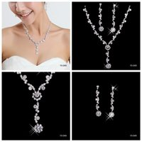 Wholesale Diamond Girls - Cheap Elegant Wedding Bridal Jewelry Prom Silver plated Rhinestone Crystal Birdal Jewelry New Bling necklace and earring set 15049