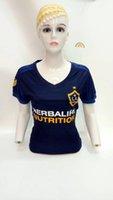 Wholesale Galaxy Uniforms - free shipping 2017 2018 Woman Los Angeles Galaxy Soccer Jersey 17 18 ropa de Robbie Keane Steven Gerrard Zardes Away Blue Uniforms