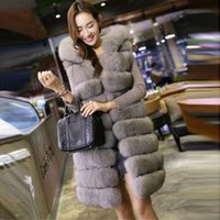 Wholesale 2017 New Fashion Long Faux Fox Mink Fur Vest With Hooded Women Winter Slims Super Long Fake Fur Vests Fur Coat Female Jackets