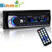 2gb car mp3 al por mayor-Al por mayor Stereo Bluetooth Car Audio en el tablero de FM Entrada auxiliar Receptor USB SD MP3 de radio de control remoto manos libres para coche Reproductor de audio MP3 N1213