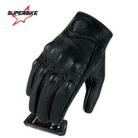 Wholesale Genuine Leather Gloves Wholesale - Wholesale- Motorcycle Gloves Touch Screen Goatskin Leather Real Genuine Cycling All Season Moto Glove Men Racing Motorbike Guantes Luvas