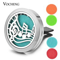 Wholesale Magnetic Pads - Car Aroma Diffuser Locket Vent Clip 316L Stainless Steel Pendant Perfume Magnetic Musical Note without Felt Pads VA-314