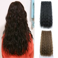 Wholesale Wide Hair Extensions - 1pcs Black Bulk Curly 60cm Hairpieces 5Clips-in Hair Extensions Flutty Wavy Women False Hair Pad Synthetic 26cm Wide