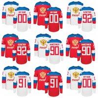 Wholesale Russia Hockey - Men's Team Russia 2016 World Cup of Hockey Custom Blank Jersey 92 Evgeny Kuznetsov 91 Vladimir Tarasenko 90 Vladislav Namestnikov Hockey