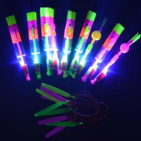 Wholesale Sling Shot Helicopter - LED Light Flash Amazing Flying Elastic Powered Arrow Sling Shoot Up Helicopter Rubber Band Umbrella Kids Flying Toys CCA7450 2000pcs