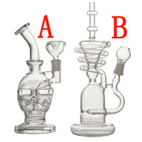 Wholesale tire perc bongs for sale - Group buy High quality glass bong quot inches two function tire perc with splash guard perc mm joint with dome and nail