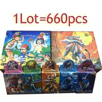 Wholesale new kids board games - 660pcs lot New Poke Trading Cards Sun and Moon Model Poke Card for Children Kids Cartoon English Edition Anime Party Board Games Toys