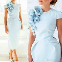 Wholesale Tea Length Dresses Coral Pink - Light Blue Handmade Flowers Formal Evening Dress Crew Neck Short Sleeves Tea-Length Sheath Prom Party Cocktail Gowns 2017 Vestido De Festa