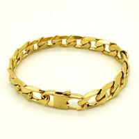 18k gold bordstein link armband großhandel-100% Edelstahl Armband Männer Retro Schmuck 18K Gold Plated T und CO Curb kubanischen Kette 6/8/12 mm Breite 8