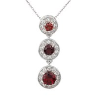 Wholesale Garnet Necklace Pendants - 925 Sterling Silver Pendant for Lady Necklace Natural Red Garnet Dress Jewelry 3-charm Design 18-inch Cable Chain Mother's Day Gift P024RGN