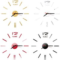 Wholesale Vinyl Surfaces - New Fashion Wall Clock Acrylic Plastic Mirror Wall Home Decal Decor Vinyl Art Stickers for Home Bedroom VBD57 P0.3