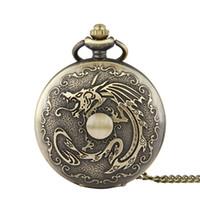 bola de reloj de cuarzo al por mayor-Unique Large Dragon Ball vintage Reloj de bolsillo Collares pendientes de bronce Relojes Fob Relojes de cuarzo Hombres Mujeres Joyas Punk Regalos de Navidad