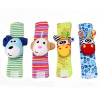 Wholesale Socks Playing - Newborn baby Socks wrist band toys to accompany play animal watch strap wristband socks ringing bell with bell toys baby free shipping