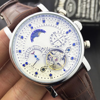 Wholesale New Fashion Luxury Brand Swiss Watch leather Tourbillon Watch Automatic Men Wristwatch Men Mechanical steel Watches relogio masculino clock