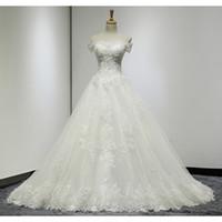 Wholesale Crystal Sparkling Short Dresses - New Design Sparkle White Wedding Dress A-Line Off-Shoulder Appliques Beads Crystal Sequins Bandage Court Train Real Photos Bridal Dresses
