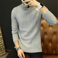Wholesale Cotton Wool Turtlenecks - Wholesale- New Arrival Chandal Hombre Winter Brand Turtleneck Sweater Fashion Men Casual Solid Pullover Mens Sweaters Black