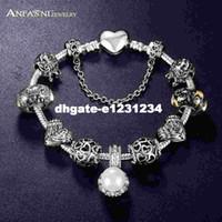 charme armband armbänder zum verkauf großhandel-Promotion Sale Antik 925 Silber Charm Fit Armreif mit Liebe und Blume Kristallkugel für Frauen Hochzeit