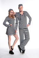 Wholesale Gangster Cosplay Costumes - Halloween Prison Uniform Costume For Adults Women& Men Couples Prison Uniform Streak Costume Halloween Cosplay Party Clothing Wholesale