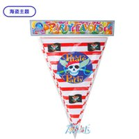 Wholesale Event Decoration Items - Wholesale- 12pcs Pirate theme Cartoon Flags chilren happy Birthday Party Items For Kids favors Event Party Supplies Decoration